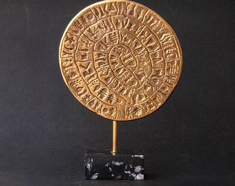 Metal Sculpture Greece, Phaistos Disc Minoan Crete Greek Art, Museum Replica, Ancient Mystery Disc, Greek Decor, Art Gift, Art Decor