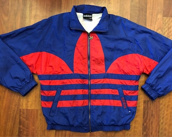 Vintage Adidas Full Zip Up Windbreaker Jacket Size Medium Trefoil Big Logo Double Sided