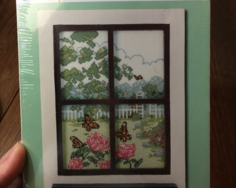 Cottage Window Fully Kitted Cross Stitch Janlynn