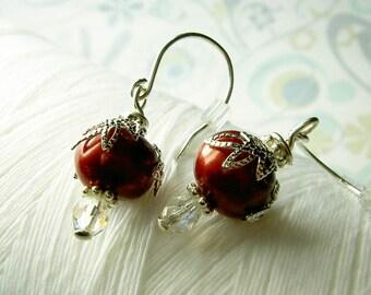 HALF PRICE - Leaf It To Me - red pearl earrings / silver leaf earrings / red earrings / leaf earrings / red jewelry /red bridal earrings