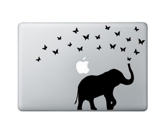Elephant & Butterflies Macbook Decal - Elephant Laptop Decal - Butterfly Decal