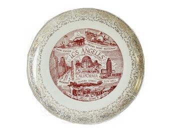 Vintage Los Angeles California Hanging Decor Plate