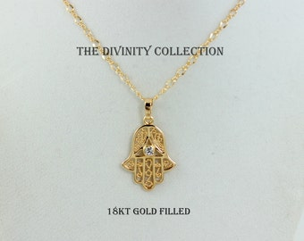 SUPERB QUALITY Hamsa Necklace 18kt Gold Filled Hand of Fatima Large Charm Pendant Women High Quality Kabbalah Necklaces Protection Jewelry