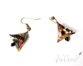 Origami earrings geometric black triangle