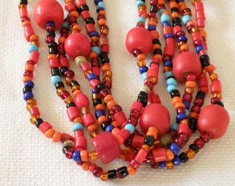 Fun in the Sun Coral Bead Multistrand Necklace - 20 inch