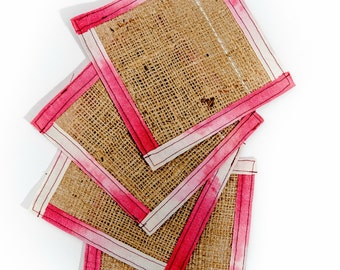Burlap coaster with Pink Fabric Border - Fabric Coaster - Drink Coaster - Gift Under 25 - Housewarming Gift - Hostess Gift - Up Cycled