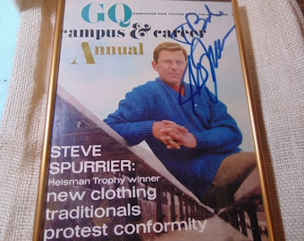 GQ Magazine October of 1966 Annual and Career Annual front page only signed by Steve Spurrier