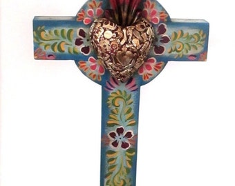"""Mexican Milagros Cross, Sacred Heart, Ex Voto, 5th Anniversary Gift,  XLG 23"""" Stand or Hang"""