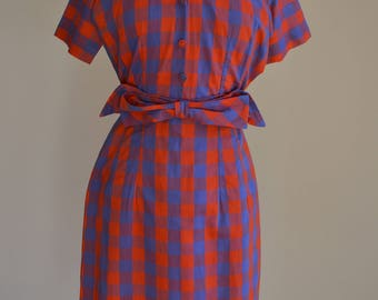 1950's Red/Blue Plaid Shift Dress