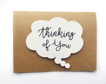 Handmade Thinking of You Card - Thinking Cloud - 3D - Cardstock - Script - Pop Out
