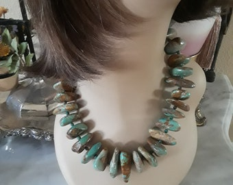 Natural polished turquoise large nugget southwestern statement necklace