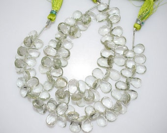 Natural Green Amethyst Faceted Pear Shape Beads -Green Amethyst Pear Shape Briolette , 10x7.5 - 13x9 mm ,  BL713
