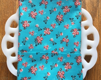 Turquoise Floral Cloth Napkin