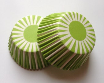 Stripe Lime Green Cupcake Liners 50 count Wedding Muffin Baking Cups Party