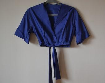 1950's Sapphire Cropped Blouse w/ Tie Belt