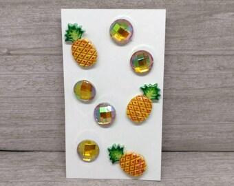 Pineapple push pins pushpins Pineapple thumbtacks tacks Office supplies Cork board pins Cork board tacks Gift under 10