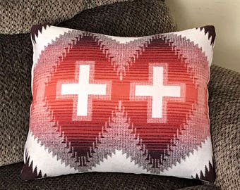 Wool Pillow Cover / Accent Pillow Cover 18 x 16 Sienna Red & Brown Southwestern Tribal Handcrafted with Pendleton Woolen Mills Fabric