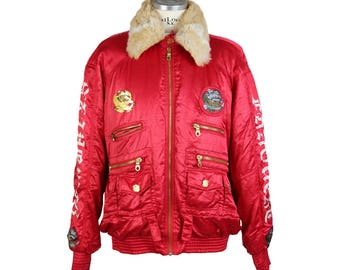 Lily Farouche vintage sky jacket red satin size xl 1980s gold application brooches