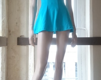 Early 1960s - Kittiwake- Shimmering Turquoise Swimsuit - Skirted hip design - Low cut scoop back - hourglass - pinup - UK8