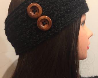 Black Crocheted Ear Warmer/Headband Headwrap with Buttons