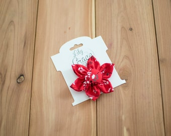 Red and White Floral Flower Bow Headband Hair Accessories Nylon Headband Clips Piggie Clips pigtails