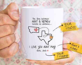 Mothers day gift for aunt distance, aunt personalized, mothers day for aunt, aunt from nephew, long distance gift, distance quote mug MU635