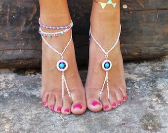 Hippie Barefoot Sandals - Boho Hippie - Silver Chain Sandals- Beach Wedding - Foot Jewelry - Urban Gypsy - Wedding Sandals - Hand Made Shoes