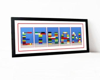 Brick Lego Childrens Alphabet Letter Color Name Print Room Decoration