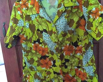 Vintage Hawaiian Shirt Women's Blouse Yellow, Orange Hibiscus Flower Print Size XL