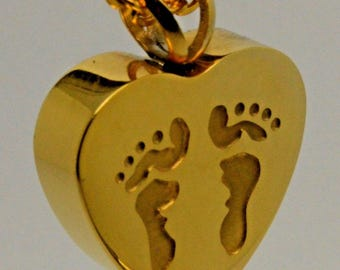 24k Gold Plated Footprints Cremation Urn Pendant - Keepsake Charm Necklace - Holds Ashes Sand etc - Engraving/Personalised/Bespoke Vial