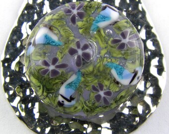 Blue Jays and Violets Murrine Lampwork Glass Bead Pendant by Chase Designs