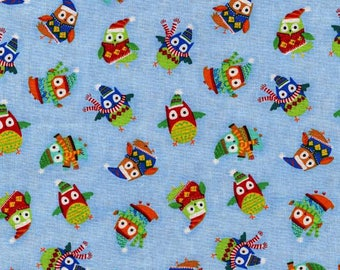 Timeless Treasures Snow Day Sky Blue Owls All Over Christmas Fabric by the yard C4542-SKY
