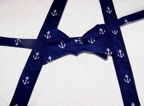 Men's Suspenders - Suspenders for Men - Wedding Suspenders - Navy Suspenders - Navy with Anchors - Out to Sea by Sara Jane - Nautical