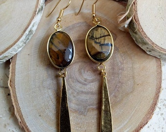 Earrings Golden sequins and Tiger eye gold