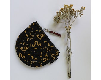 Hand Printed Purse, Large Half Moon Purse, Screen Printed Pouch, Makeup Bag, Zipper Purse, Black and Yellow, Leather, Gift, Squiggles, Hemp