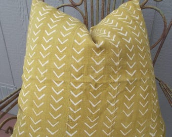 Mustard  Yellow African mudcloth white arrows cloth pillow cover
