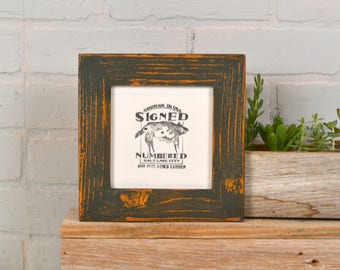 "5x5"" Square Picture Frame in Reclaimed Cedar with Super Vintage Orange under Sable Finish - IN STOCK - Same Day Shipping - 5 x 5 Reclaimed"
