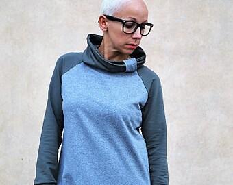 organic sweatshirt,high collar sweatshirt,modern sweatshirt,clothing for women,high collar  sweatshirt,cool sweatshirt,slouchy sweatshirt