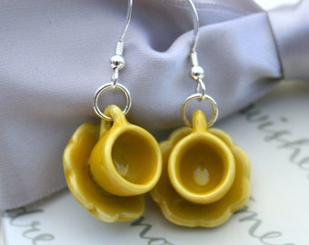 Tea Cup earrings - Yellow ceramic teacup and saucer with Sterling earwires - Closeout sale