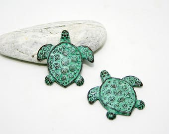 Turtle Patina Beads Green Patina Turtle Pendant Beads Green patina copper Turtle Hippie pendant Animal pendant Charm pendant Boho pendant