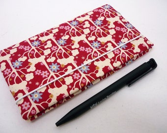 Checkbook holder red fantasy woman, red flowers fabric checkbook cover checkbook case
