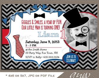 1st Birthday Invitations Boy Little Man First Birthday Party Invites Printable Mustache 1st Birthday Party Invitations Little Man with Photo