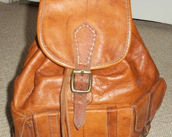 Vintage 1980's Classic Golden Tan Moroccan Leather Backpack, Festival Bag - Country Chic