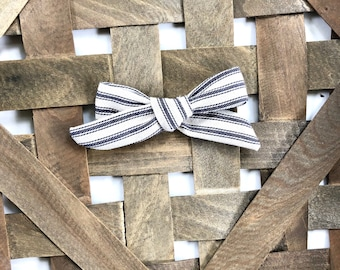 Striped Linen Bow, Baby Bow, Toddler Bow, Linen Bow Headband