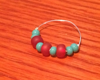 Funky Stackable Beaded Sterling Silver Ring Size 9
