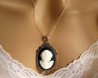 Black Cameo: Grecian Woman Black Cameo Necklace Vintage Inspired Black White Cameo Renaissance Wedding Jewelry Gift for Her Romantic Jewelry