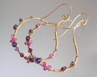 Pink Purple Gemstone Blossom Hoop Earrings, 14k Gold Filled Sculptural Hoops, Lightweight, Sapphire, Amethyst, Garnet, Artisan Designed