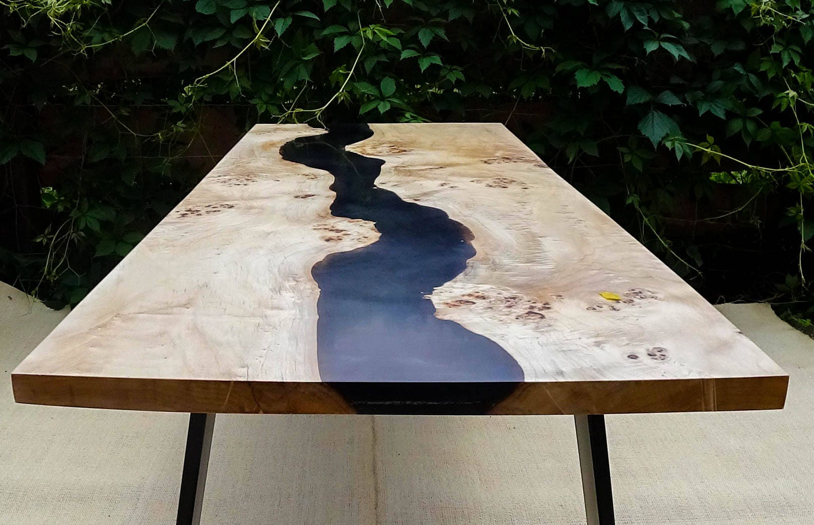 sold black river table with epoxy inlay sold. Black Bedroom Furniture Sets. Home Design Ideas