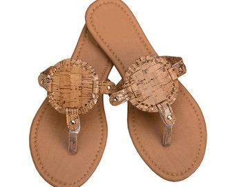 Blank Interchangeable Disk Sandals, Rose Gold Sandals, Cork Sandals, White Sandals, Bridal Party Sandals