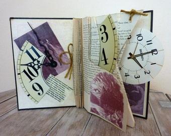 Time Traveller / Altered Book Art / Sculpture / Mixed Media / Original / Handmade
